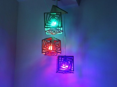 Make Multifaceted Lamp with recycled cardboard | Diy Crafts