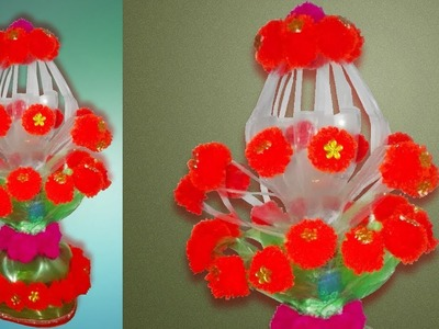 Plastic bottle craft idea   Reuse Amazing Trick   Plastic Bottle Flower Vase ideas   Handmade Craft