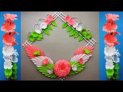 Tricolour Paper flower. Republic Day Craft. Wall Decoration Ideas. г7