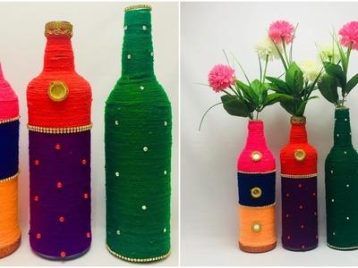 3 Bottle Craft   DIY Waste Glass Bottle Flower Vase Craft   Simple Craft Idea