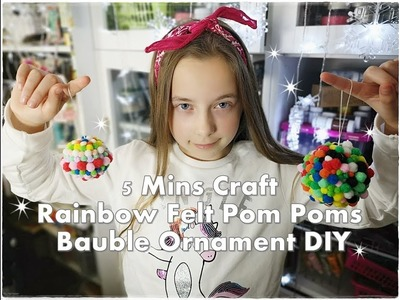5 Mins Craft Rainbow Felt Pom Poms Bauble Ornament DIY ❀ Emily's Small World ❀
