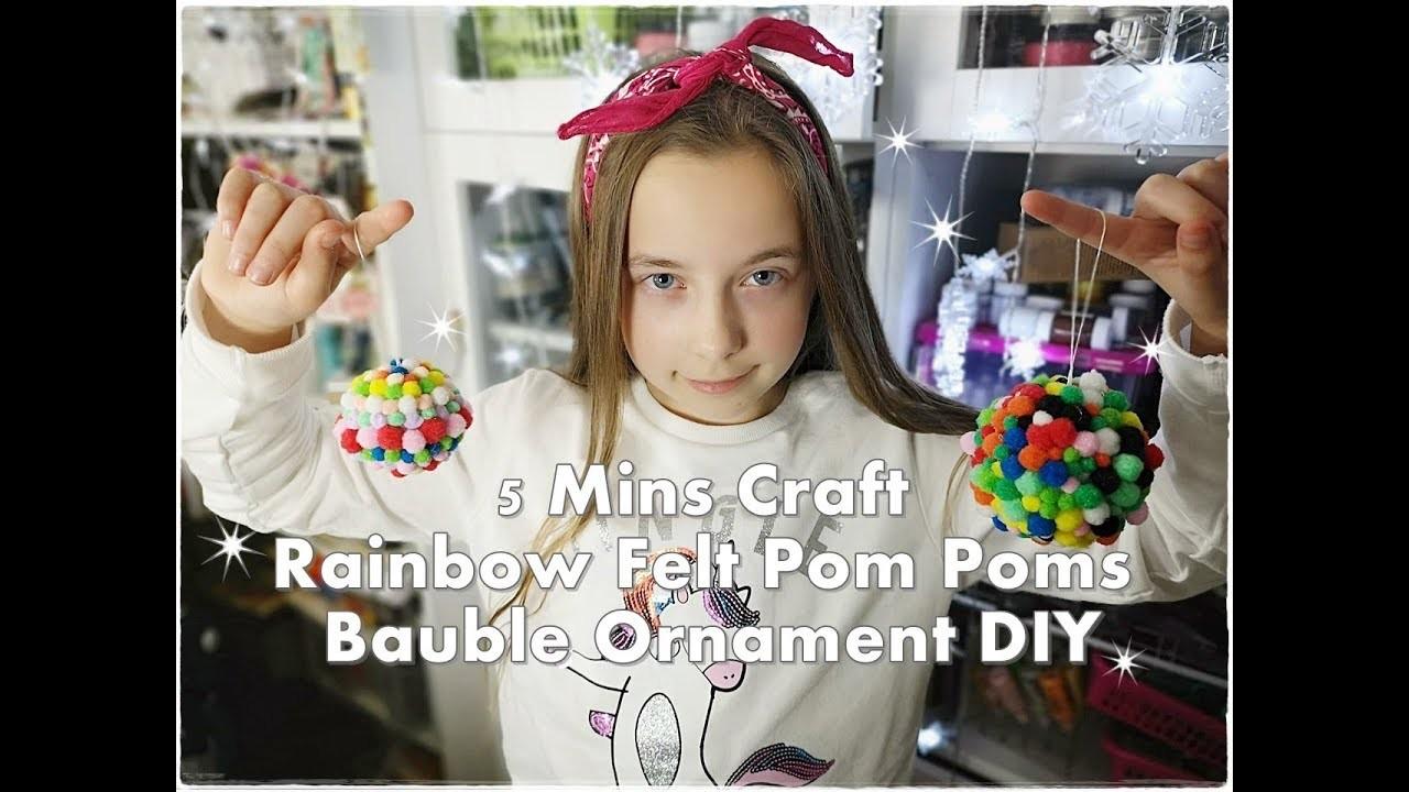 5 Mins Craft Rainbow Felt Pom Poms Bauble Ornament DIY ❀ Emily's Small World ❀