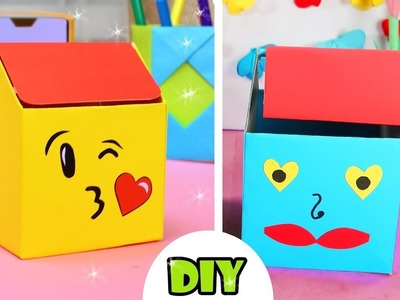 Amazing DIY Emoji Trash Desk Organization Idea, Handmade Craft Easy and Fun from Paper