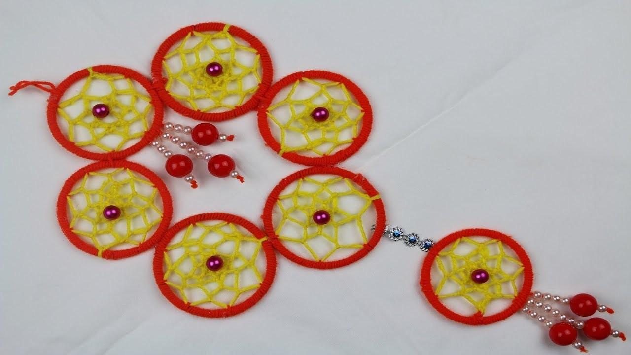 Amazing Woolen Craft Idea    How to Make Door Hanging Toran Using Bangles & Woolen - arts and crafts