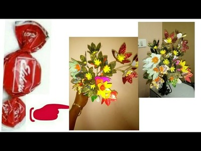 Best out of chocolate wrappers craft.how to make flowers from candy wrappers.