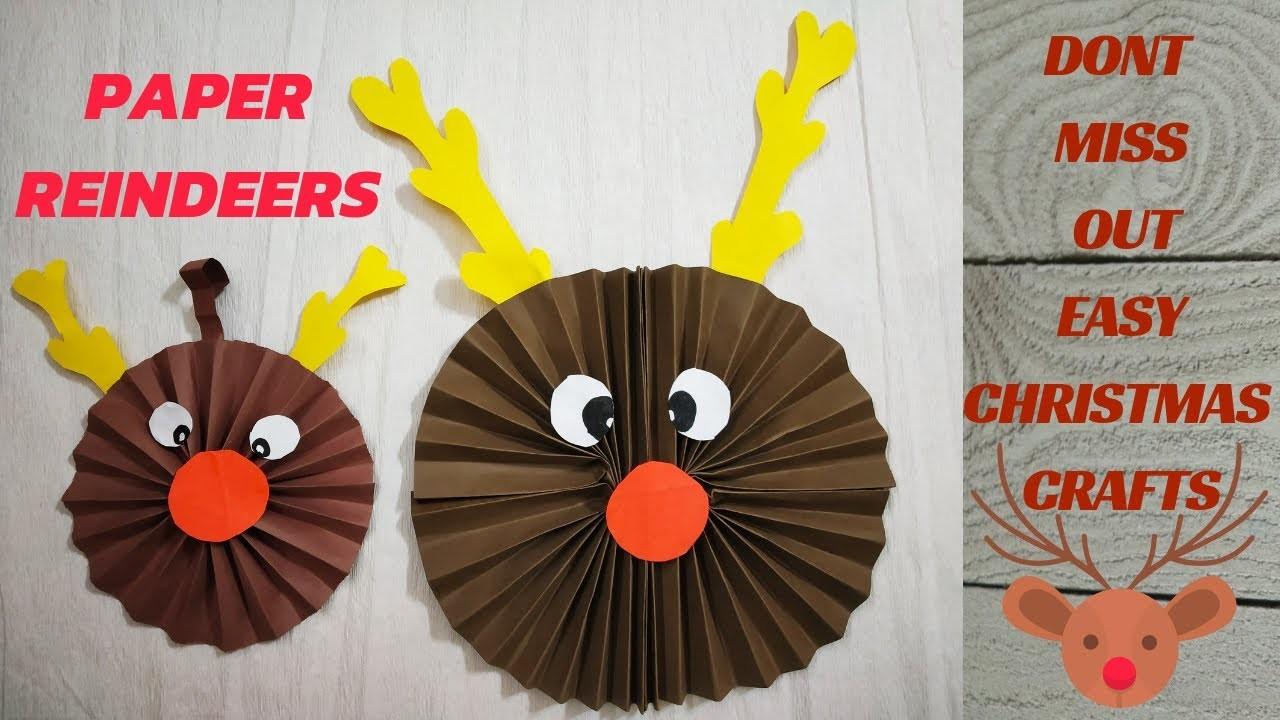 CHRISTMAS DECOR SERIES 3-PAPER REINDEER FOR KIDS || DIY REINDEER CHRISTMAS CRAFT || ORIGAMI REINDEER