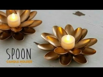 #DIY best recycling craft with plastic spoons DIY candle stand 5 minutes craft