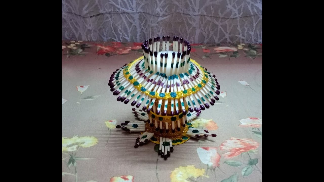 Diy.Candle stand.Matchstick Art & Craft.Christmas Candlel decoration ideas.School Project Idea.