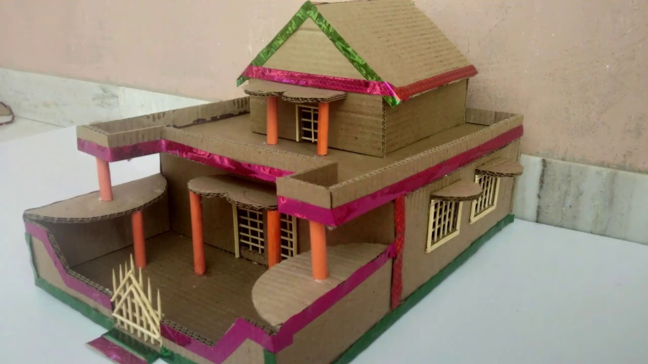 Diy Cardboard Mini House Craft Making How To Make House With