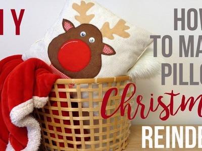 DIY CHRISTMAS PILLOW REINDEER PLAID CUSHIONS ROOM DECOR TUTORIAL ???? CRAFT IDEA HOMEMADE VLOGMAS 2018