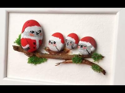 DIY Christmas Stone Art - Easy Bird Family Craft - Nunismas Day 4