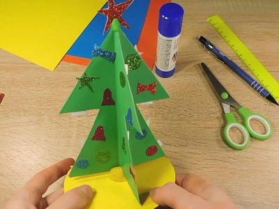 DIY Christmas tree with decoration New Year Paper craft for kids preschoolers