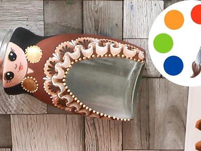 DIY, Decoration idea, Jar craft idea, Paint Lace