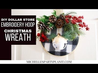 DIY EMBROIDERY HOOP CHRISTMAS WREATH - Dollar Tree DIY - Craft with Me!