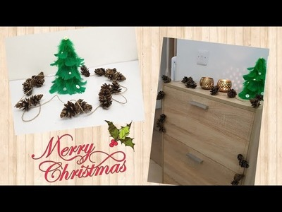 DIY feather Christmas tree with pine cone garland | EASY CRAFT | CHRISTMAS CRAFT IDEAS |
