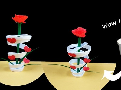 Diy Flower Vase With Disposable Glass - Easy Paper Craft