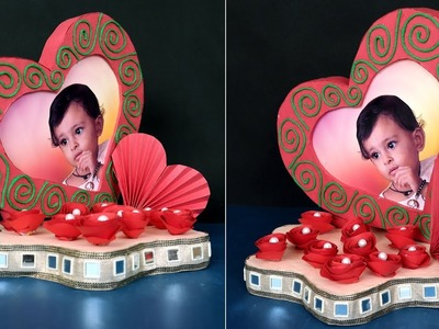 DIY Heart Showpiece Making Using Paper & Thermocol | Handmade Craft Idea | Heart Photo Frame