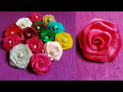 DIY: how to make rose flower with ribbon ???? very easy ???? hand craft ????