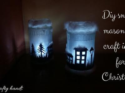 DIY mason jar craft||snowy mason jar for christmas decoration by Crafty hands