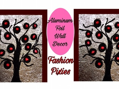 Diy wall hanging craft.Aluminum foil wall art.Jute work wall piece.Fashion pixies.room decor