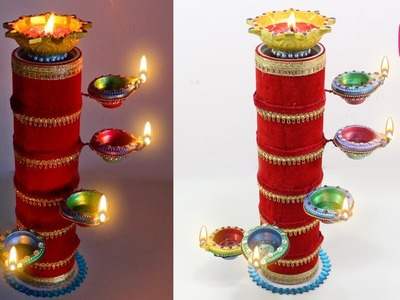 DIYA Stand from Cardboard ROLL | Diwali Craft idea | Sonali's Creations