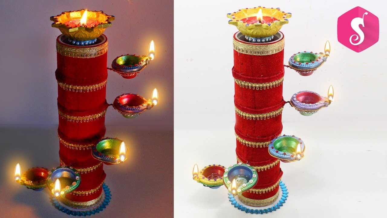 DIYA Stand from Cardboard ROLL | Diwali Craft idea | Sonali's Creations
