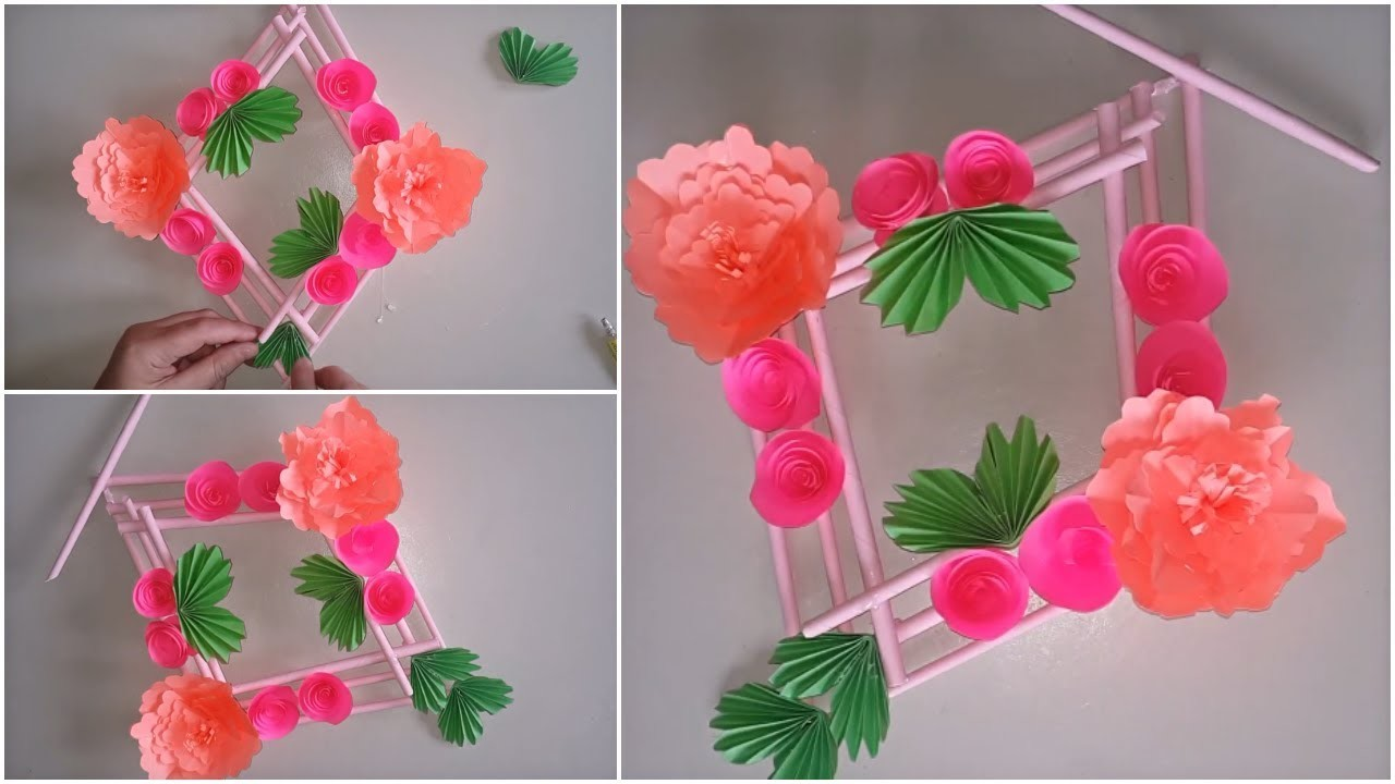 Easy Paper Flower Wall Hanging - DIY Paper Craft - Simple Home Decor