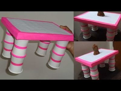 How to Make a Beautiful Paper Cup Table - Paper Cup Craft Ideas Easy