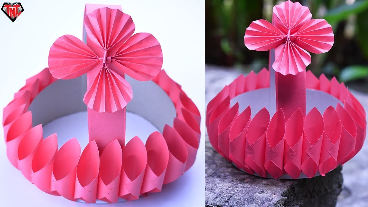 How To Make Beautiful Baskets With Paper Diy Cardboard Basket Easy