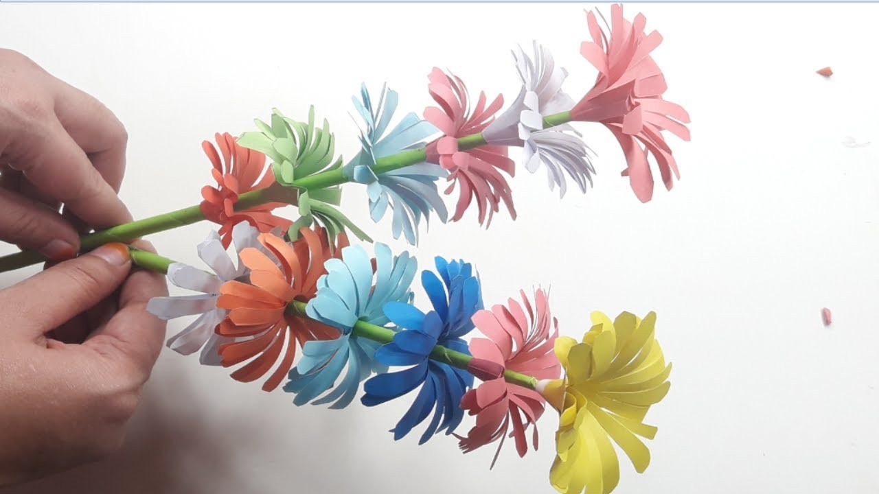 How To Make Beautiful Easy Eye Catching Paper Stick Flower Handmade
