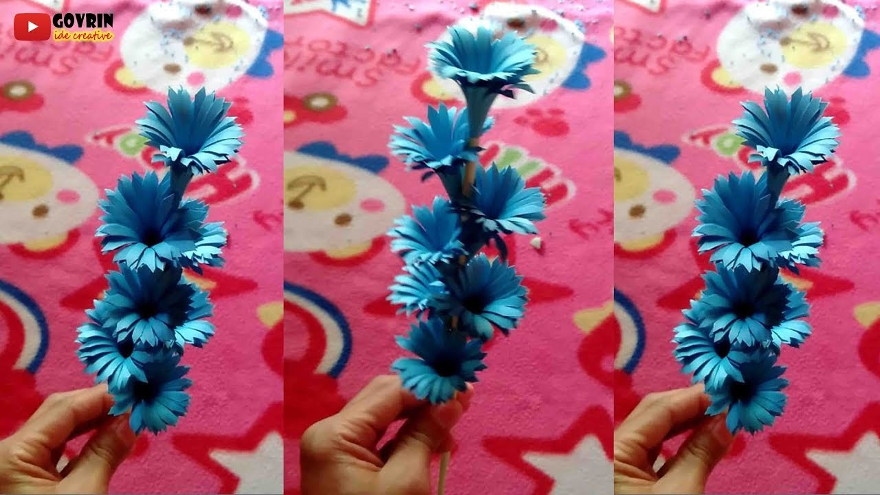 How to Make Beautiful Paper Stick Flower | DIY Hand Craft Ideas for Room