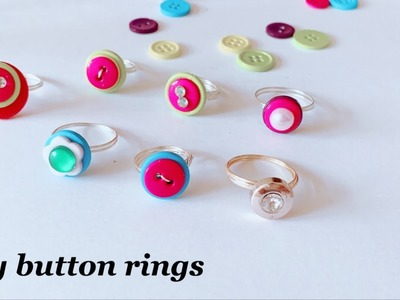 How To Make Finger Rings With Buttons||cool craft idea with buttons||cute button rings