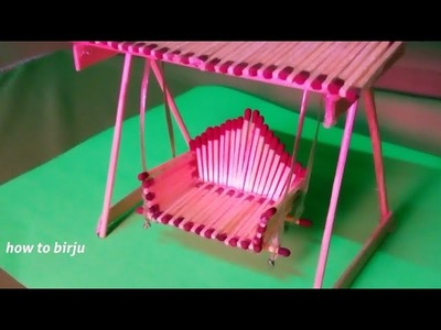 How to Make Matchstick Miniature Swing - Matchstick Jhula diy craft (by mini home)