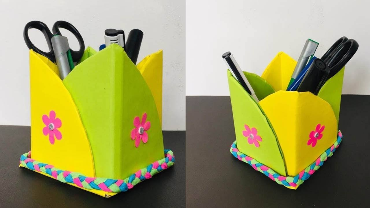 How to Make Pencil Box with Paper   Pencil Holder Ideas   Paper Craft Ideas