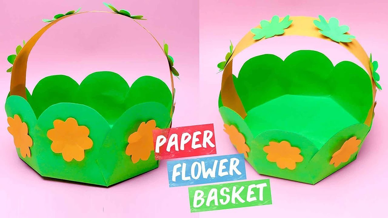 Paper Flower Basket - Very Easy DIY Craft.