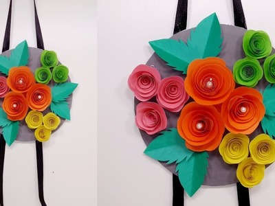 Wall Hanging Craft Idea: Paper Flower Wall Hanger | Room Decoration | Jarine's Crafty Creation