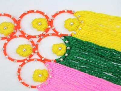Woolen Craft Idea || How to Make Door Hanging Toran Using Woolen - DIY arts and crafts - Reuse ideas