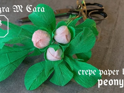 703A DIY Paper Peony Bud Easy. Crepe Paper Craft Tutorial