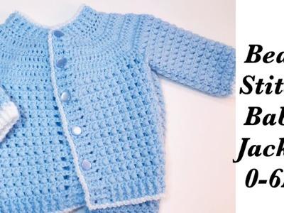 Baby Boy Set: How to crochet newborn bean stitch jacket - Left Handed 0-6M Crochet for Baby #171