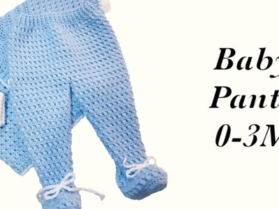 Baby Boy Set: How to crochet newborn bean stitch baby pants with feet 0-6M Crochet for Baby#172