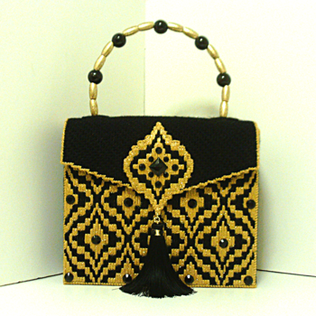 Black and Gold Bargello Jeweled Handbag