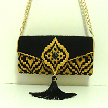 Black and Gold Bargello Purse/Clutch