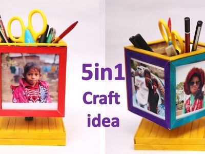 DIY photo frame and pen stand making with ice cream stick #new craft idea || raj easy craft