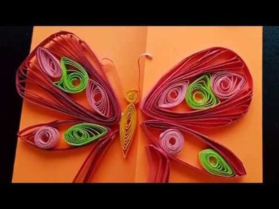 DIY: Quilled butterfly greeting card. paper crafts.cards
