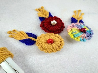 Easy Flower Making  | Woolen Flower Making | Hand Embroidery Tricks.