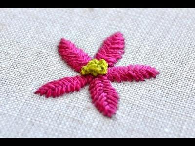 Fishbone stitch flower embroidery tutorial