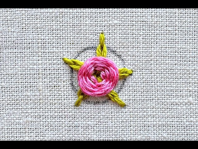 Flower embroidery tutorial: woven rose with chain stitch leaves