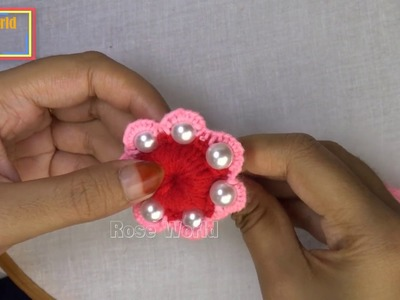 Hand Embroidery Amazing Trick, #super Easy Flower Embroidery Trick, Woolen Flower with pearls