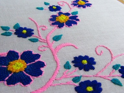 Hand Embroidery, Beautiful Bedshit and Pilow cover design, Flower Embroidery Design