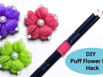Hand Embroidery: DIY Yarn Pencil Flower Hack #2 - Sewing Flower Trick ????